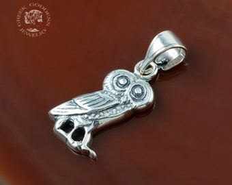 owl silver pendant, owl pendant, silver owl, antique pendant, ancient pendant, owl, greek pendant, greek jewelry