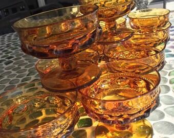 Indiana Glass, Amber Kings Crown Seven Ounce, Pedestal Sherbet / Dessert Cups, Set of 10