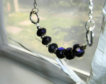 Dark purple faceted bead necklace