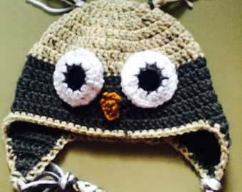 Tweed and Grey Owl Childs Crochet Hat, Owl Hat, Crochet Child's Hat, Photo Prop, Owl Ear Flap Hat, Winter Hat, Childs Hat, Character Hat