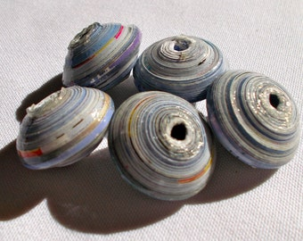 African Jumbo Blue Recycled  Paper Beads 3cm Pack of 5 - Fair Trade from Mzuribeads Uganda