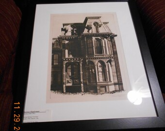 """Lawrence Kupferman -  """"Saratoga Springs Victorian"""" , pencil signed drypoint c. 1940 (Just Reduced)"""