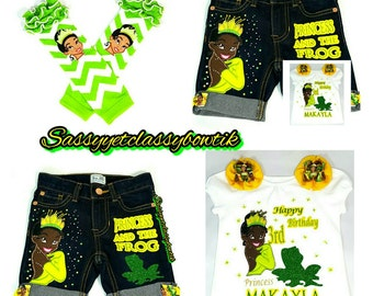 Princess Tiana Set, Princess and the Frog, Princess Tiana shorts, Princess Tiana birthday outfit, Princess Tiana (shirt & shorts)