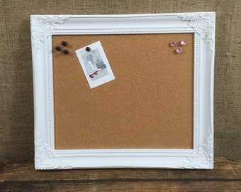 white wooden framed cork board framed pin board ornate cork board notice board vision board framed message board pinboard