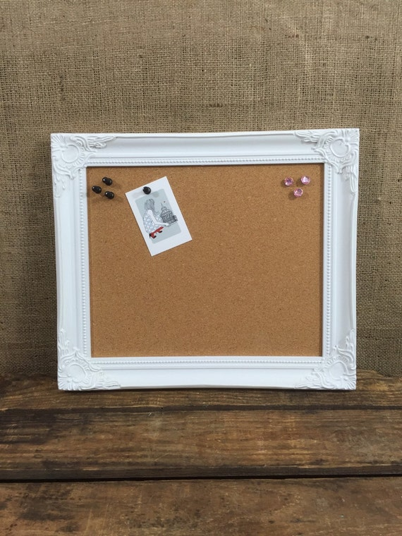 WHITE Wooden FraMed CORK BOARD / Framed Pin Board / Ornate Cork Board / Notice Board / Vision Board / Framed Message Board / Pinboard