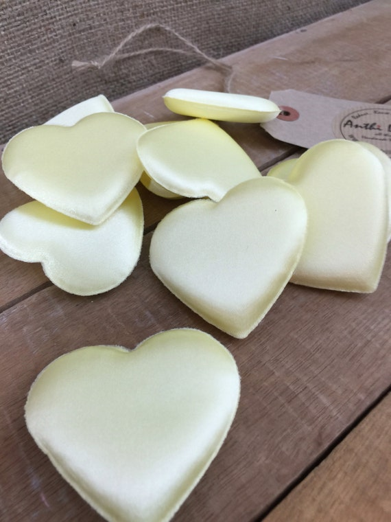 Satin Padded Hearts - for Crafts, Applique, Hanging Hearts Inners, Valentine's Decor, Wedding Decor, Embellishments - Set of 10 x 6cm x 6cm