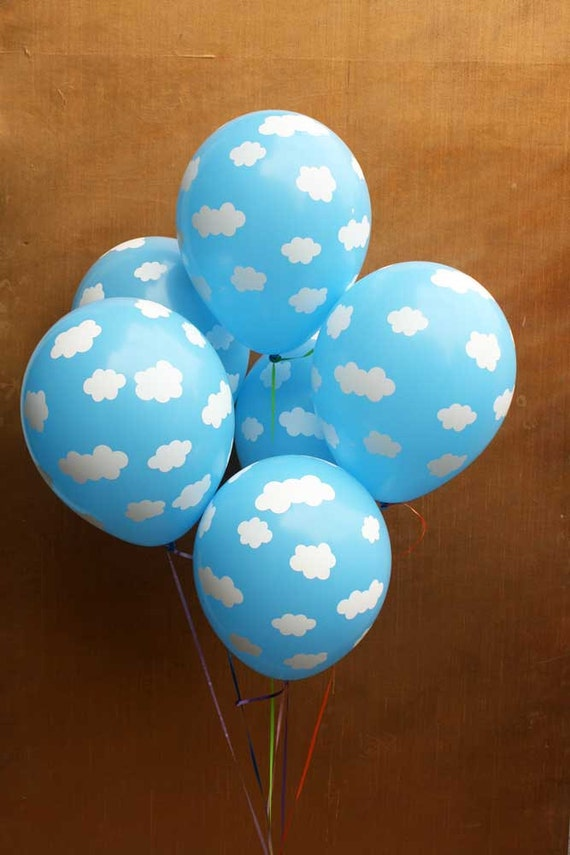 Cloud print latex balloons set of 6 blue and white cloud for Balloon cloud decoration