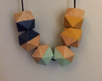 geometric wooden bead necklace - mint, yellow, navy