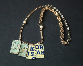 Recycled Vintage Tin, Chain & Pearly Beads Necklace