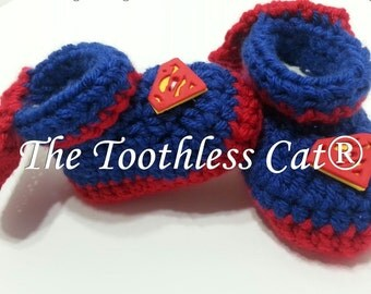 Superman Baby Booties , Crochet Newborn to 3 months,
