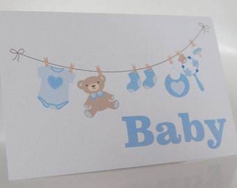 NEW BABY CARD Boy --- Baby Washing Line Blue ---Baby shower card---