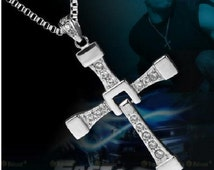 2016 New Trendy Silver Stainless steel Fast And Furious Dominic Toretto's vin diesels Fashion Jewelery Cross Pendant & Chain Necklace