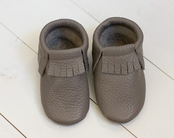 Grey baby moccasinsNewborn, infant, toddler soft shoes