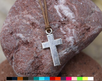 Cross Pendant Necklace - Mens cross necklace - Mens Cord necklace - Fathers Day gift - mens silver cross necklace - Silver cross pendant