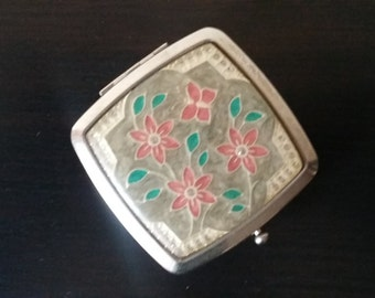 Vintage Flower Makeup Compact Mirror, Pocket Mirror, Floral Design Accessories, Cosmetic Makeup Case, Silver Plated Purse Mirror Ladies'