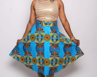 Blue Shell Ankara skirt