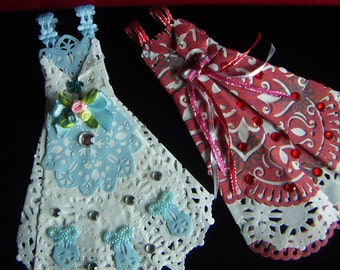 Paper Dress Origami Doilies Beautiful  Hand Folded Paper Dress Prom Wedding Dresses  Rhinestones Satin Ribbon
