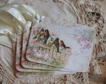 Set of FOUR Vintage Birds on Cottage Rose Fence Post Card Hang / Gift Tags
