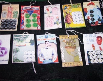TEN Vintage Retro Sewing Button Cards Hang Tags / Gift Tags