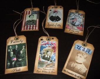 SIX Large Primitive Americana Vintage Patriotic Hang Tags / Gift Tags