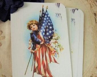 FOUR Vintage Patriotic Americana USA Flag Boy hang tags / Gift Tags