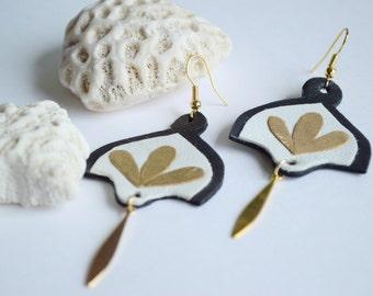 Pendant Leather Earrings, Petals