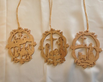 Traditional Victorian-style Nativity Ornamemt Set - Ash