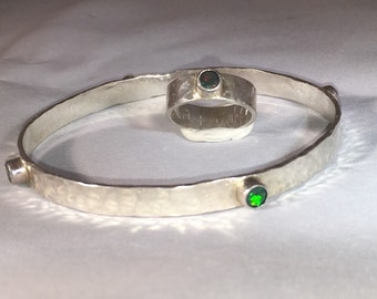 Black opal on sterling silver bangle no67