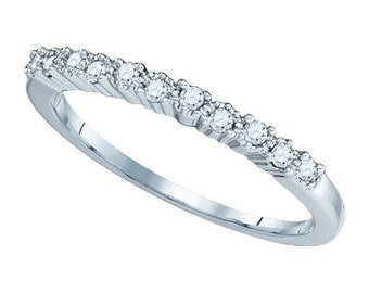 Womens Diamond Engagement Wedding 10KT Solid White Gold Band 0.16CT