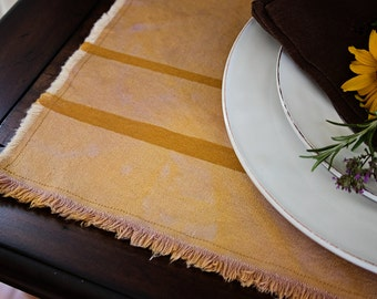 Golden Yellow Placemats - Set of 6 // dyed canvas place settings