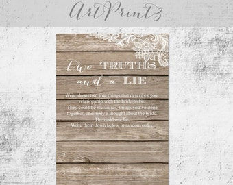 Two Truths and a Lie Bridal Shower Game Printable,Rustic Bridal Shower Game, Wood&Lace Bridal Shower Fun Activity, Wedding Shower Game