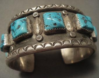 Museum Vintage Navajo 'Squared Natural Turquoise' Silver Bracelet
