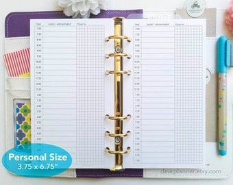PRINTED Daily planner insert - Undated day on 1 page insert - Printed do1p with grid - Personal size insert - P11