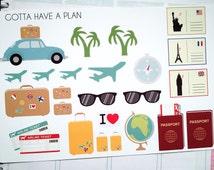 Traveling Collection Planner Stickers for Erin Condren, Happy Planner, Filofax, Scrapbooking