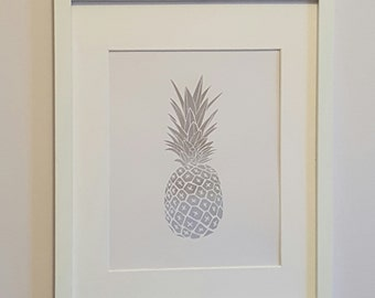 REAL Foil//Silver Pineapple Print//FREE SHIPPING
