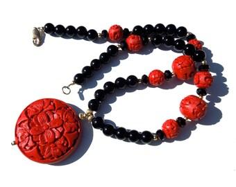 VINTAGE: Old Chinese Black Onyx Carved Red Cinnabar Vintage Necklace -  (12-D4-00004357)