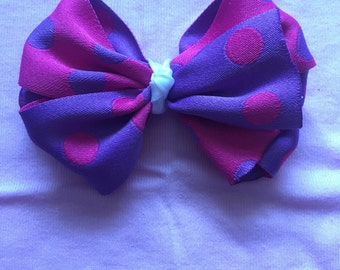 Pink and Purple Polka Dot Bow