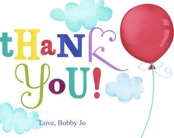 Printable Thank You Card,  balloons brthday Thank You template, digital thank you card, 5x7 printable card