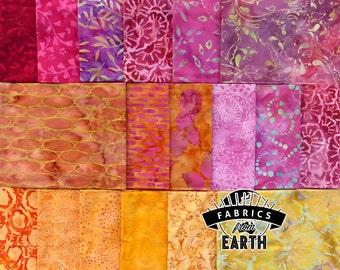 Pink Sunrise Batik 18 Fat Quarter Bundle - Quilting Fabric