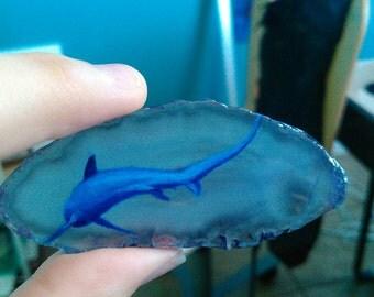 Thresher shark agate painting