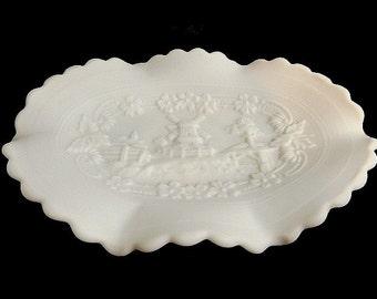 Vintage Imperial Windmill Landscape Satin Milk Glass Scalloped Bowl/Pickle Dish