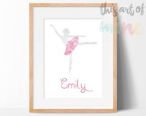 Personalised Ballerina Print - Grey With Pink Feather Tutu - Printable Digital Download/Print Your Own - Ballet Theme - Nursery Wall Art