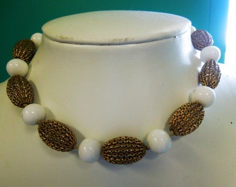 VINTAGE: Milk Glass Choker Necklace /Filigree Bead Choker Necklace /White Glass Beaded Necklace / White and Gold Tone Choker.{D2-119#00338}