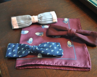 Vintage Ormond NYC Clip On Bow Ties (3) and Matching Hand-Stitched Silk Handkerchief