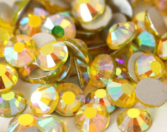 Citrine Yellow AB Crystal Glass Rhinestones - SS20, 1440 pieces - 5mm Flatback, Round, Loose Bling
