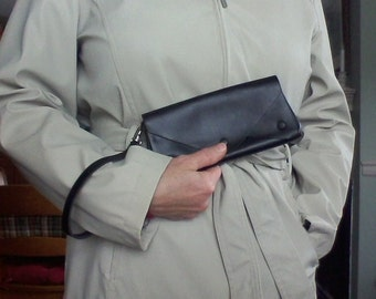 Black leather five pocket clutch purse with wrist strap