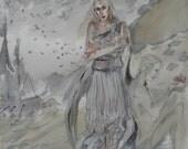 Reserved for Joel - Spirit of Memory original fantasy painting, greek mythology, ghost story edgar allan poe, nightmare before christmas