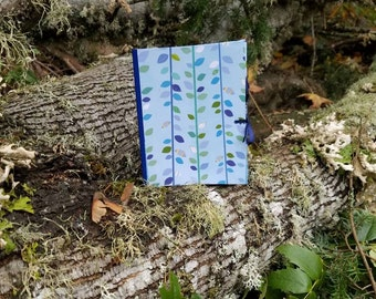 Recycled Cake Mix Box and Paper Notebook / Upcycled Journal / Blue and Green Cover / / Dark Blue Ribbon / 100% Recycled Materials