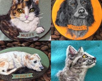 Custom Pet Portrait, Personalized Pet Art, Dog Portrait, Cat Portrait, Hoop Art, Gift For Animal Lover, In Memory, Wool Felt, Needle Felted