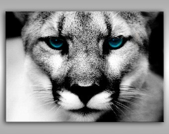 Modern painting Cougar black and white, abstract art